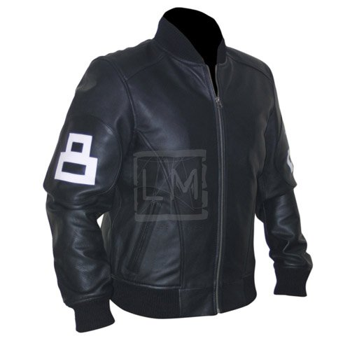 8 Ball Black Cowhide Bomber Leather Jacket