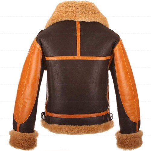 A4 Brown Genuine Leather Jacket Faux Shearling