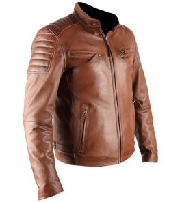 ATX 3 Cross Pockets Brown Waxed Genuine Real Leather Jacket