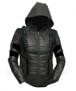 Arrow Green Faux Leather Jacket Stephen Amell With Hoodie