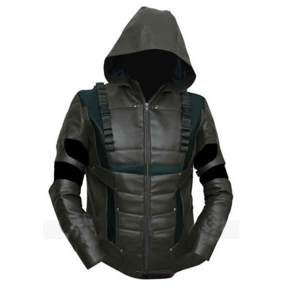 Fake leather jacket with hood