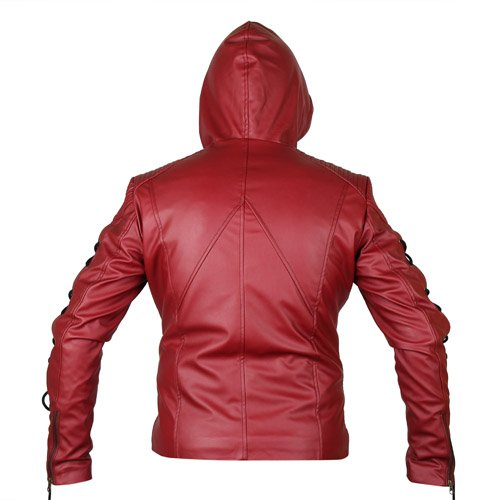 Arsenal Red Hooded Leather Jacket