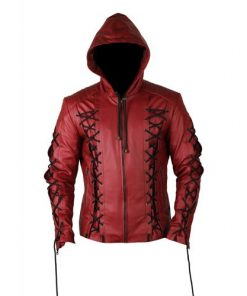 Arsenal Red Leather Jacket Hooded