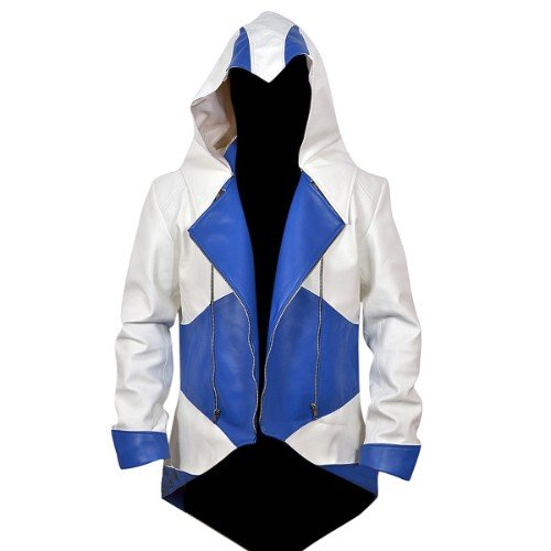 Assassins Creed 3 White And Blue Denim Jacket Leather Madness