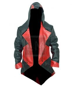 Assassins Creed 3 Red and Black Faux Leather Jacket