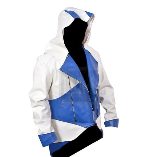 Assassins Creed 3 White and Blue Faux PU Leather Jacket