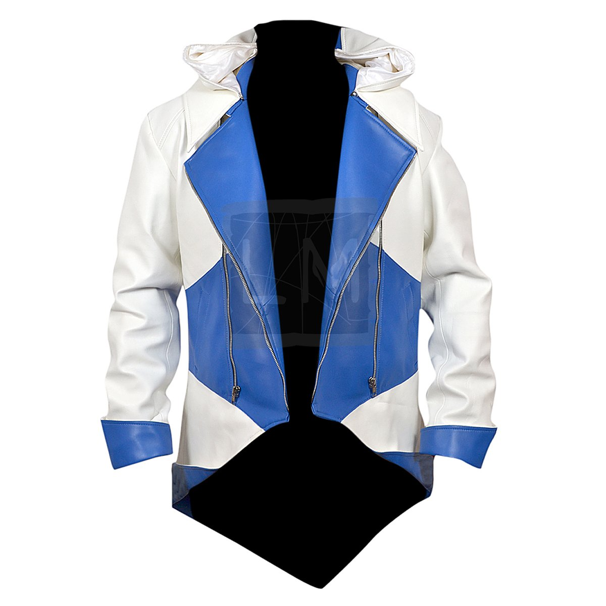 Assassins Creed 3 White and Blue Faux PU Leather Jacket - Leather