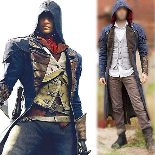 Assassins Creed Unity Arno Victor Dorian Denim Cloak Cosplay Coat Hoodie Jacket Trench Coat Leather Madness