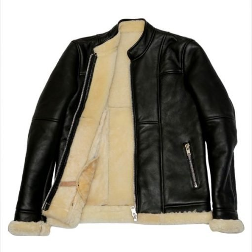 B3 Slimfit with Genuine Shearling Black Biker Real Leather Jacket