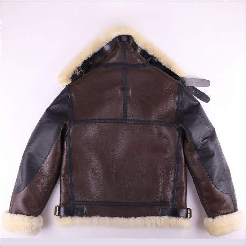 B4 Brown Genuine Leather Jacket Faux Shearling