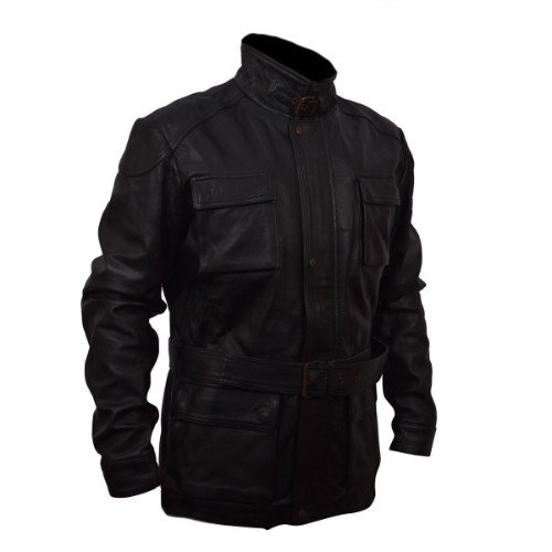 Bane Box Pockets Black Faux Leather Jacket