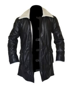 Bane Coat Black Genuine Real Leather Coat Batman Dark Knight Shearling