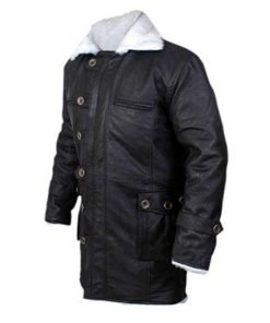 Bane Coat Black Faux Leather Coat Faux Shearling Batman