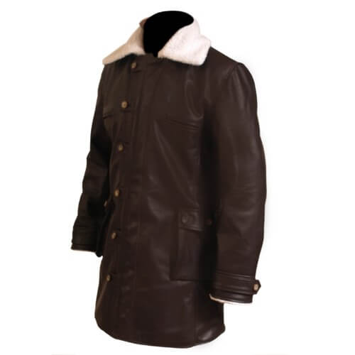 Bane Coat Chocolate Brown Genuine Real Leather Coat Batman Dark Knight Shearling