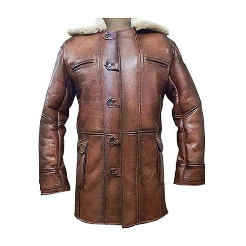 Bane Coat Brown Genuine Leather Coat Faux Shearling Costume
