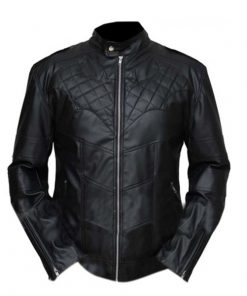 Batman Bat Logo Quilted Black Genuine Leather Jacket