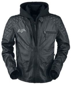 Batman Black Biker Genuine Real Leather Jacket with Removable Hoodie