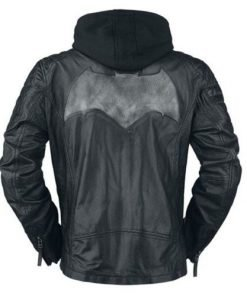 Batman Black & Grey Hoodie Leather Jacket