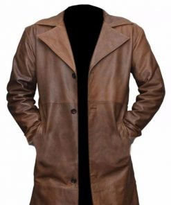 Batman Vs Superman Genuine Brown Leather Trench Coat
