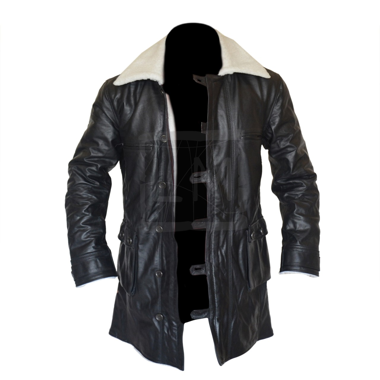 Bane Coat Black Cowhide Leather Jacket Batman Dark Knight Rises ...