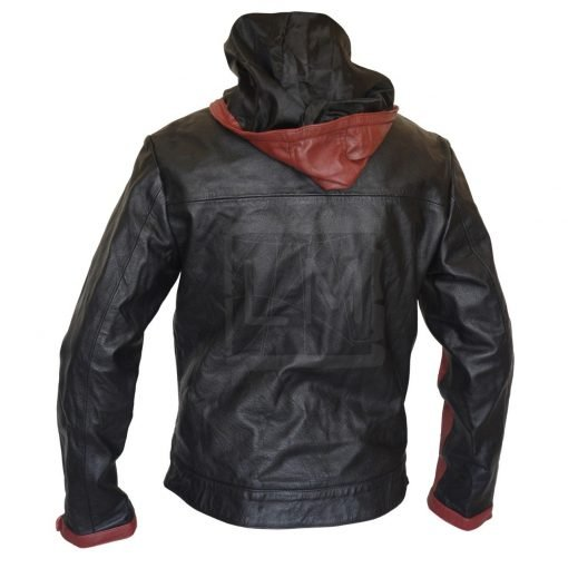 Batman Dark Knight Black Leather Jacket with Hoodie Batman Dark Knight