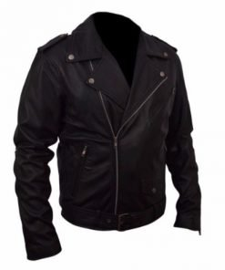 Belted Rider Black Biker Faux Leather Jacket