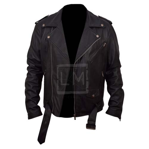 Belted Rider Black Biker Genuine Cowhide Leather Jacket Slim Fit