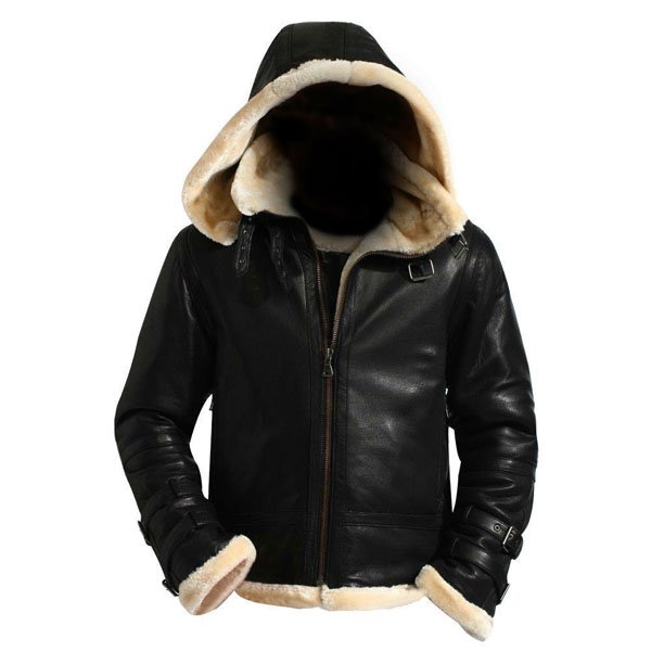 Mens Black B3 Hooded Shearling Genuine Real Leather Jacket Leather