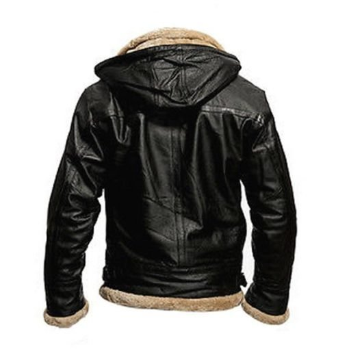 Mens Black B3 Hooded Shearling Genuine Real Leather Jacket