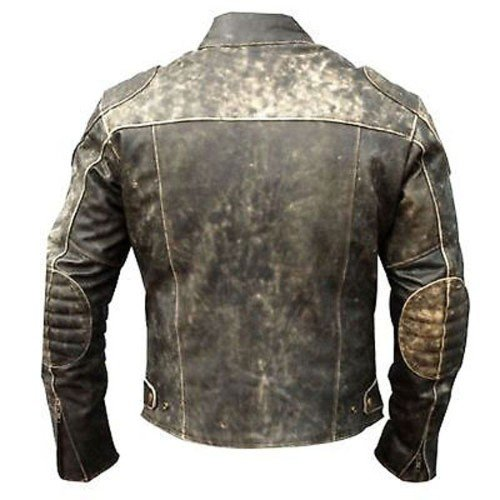 Vintage Distressed Black Biker Motorcycle Genuine Real Leather Jacket