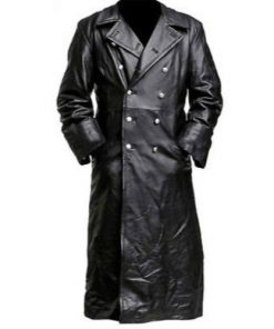 Black Genuine Leather Black Long Coat Duster