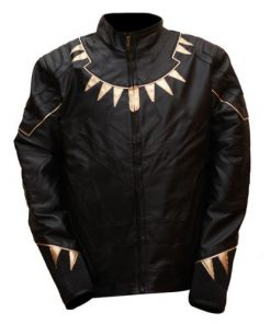 Black Panther Black & Gold Faux Leather Jacket