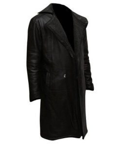 Blade Runner 2049 Ryan Gosling Genuine Real Leather Black Trench Coat