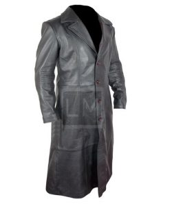 Blade Trinity Black Faux Leather Coat with Buttons