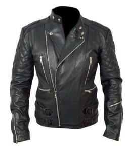 Brando Mens Motorcycle Biker Black Genuine Leather Jacket