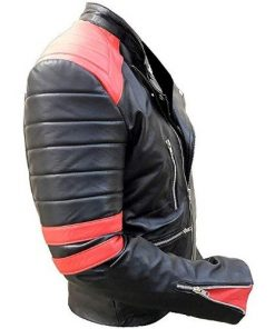 Brando Biker Black & Red Motorcycle Genuine Real Leather Jacket