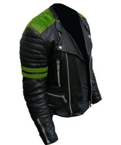 Brando Classic Biker Motorcycle Black & Green Genuine Real Leather Jacket