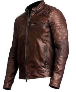 Vintage Distressed Brown Biker Motorcycle Genuine Real Leather Jacket