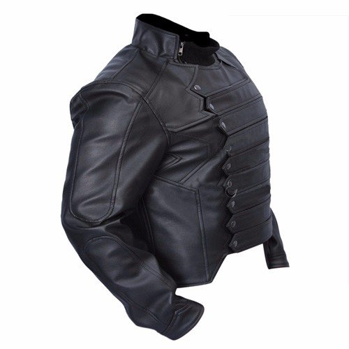 Bucky Barnes Black Genuine Real Leather Jacket
