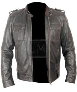 Button Pocket Black Biker Leather Jacket