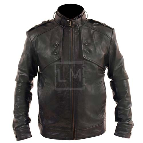 Button Pockets Faux Leather Jacket