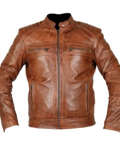 Cafe Racer 2 Biker Tan Brown Genuine Leather Jacket