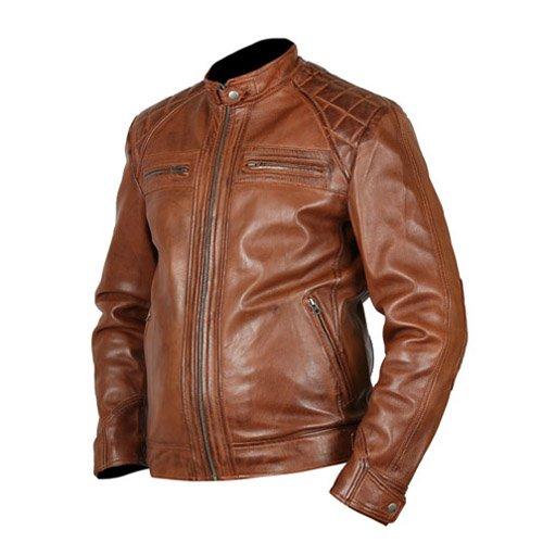Cafe Racer 3 Biker Tan Brown Leather Jacket