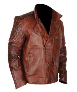 Cafe Racer 5 Biker Tan Brown Genuine Real Leather Jacket