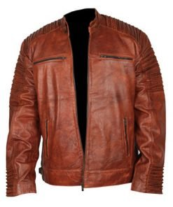 Cafe Racer 6 Biker Tan Brown Leather Jacket