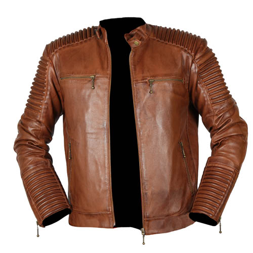 Cafe Racer Biker Tan Brown Leather Jacket