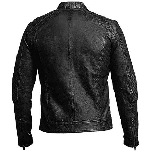 Cafe Racer Jacket Moto Vintage Black Motorcycle Leather Jacket