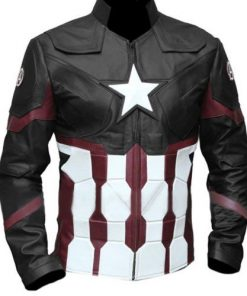 Captain America Civil War Genuine Real Leather Jacket Black