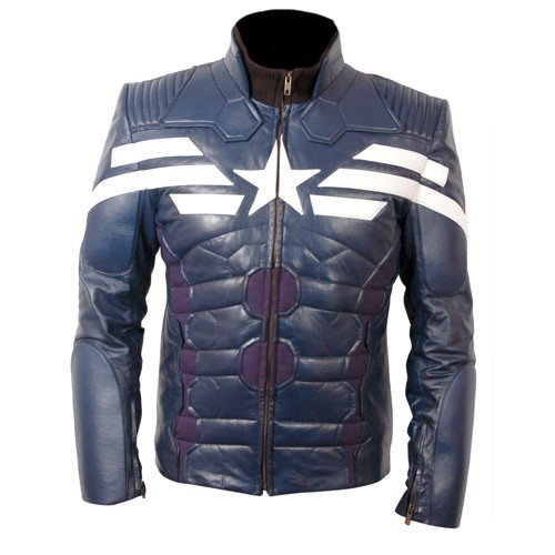 Captain America The Winter Soldier Blue Leather Jacket with White Star And Stripes