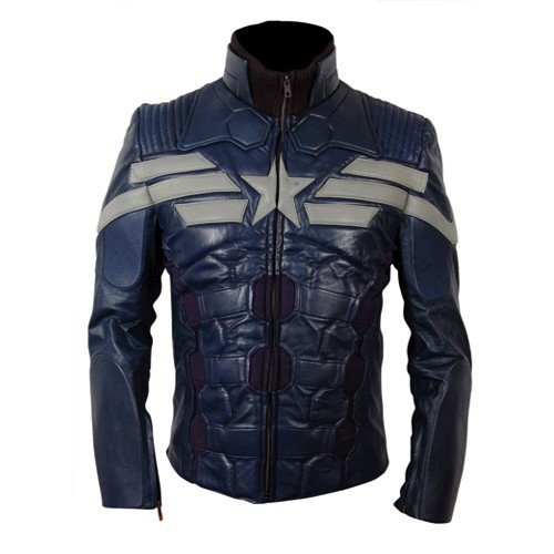 Captain America The Winter Soldier Genuine Leather Jacket 2014 Grey Star And Stripes